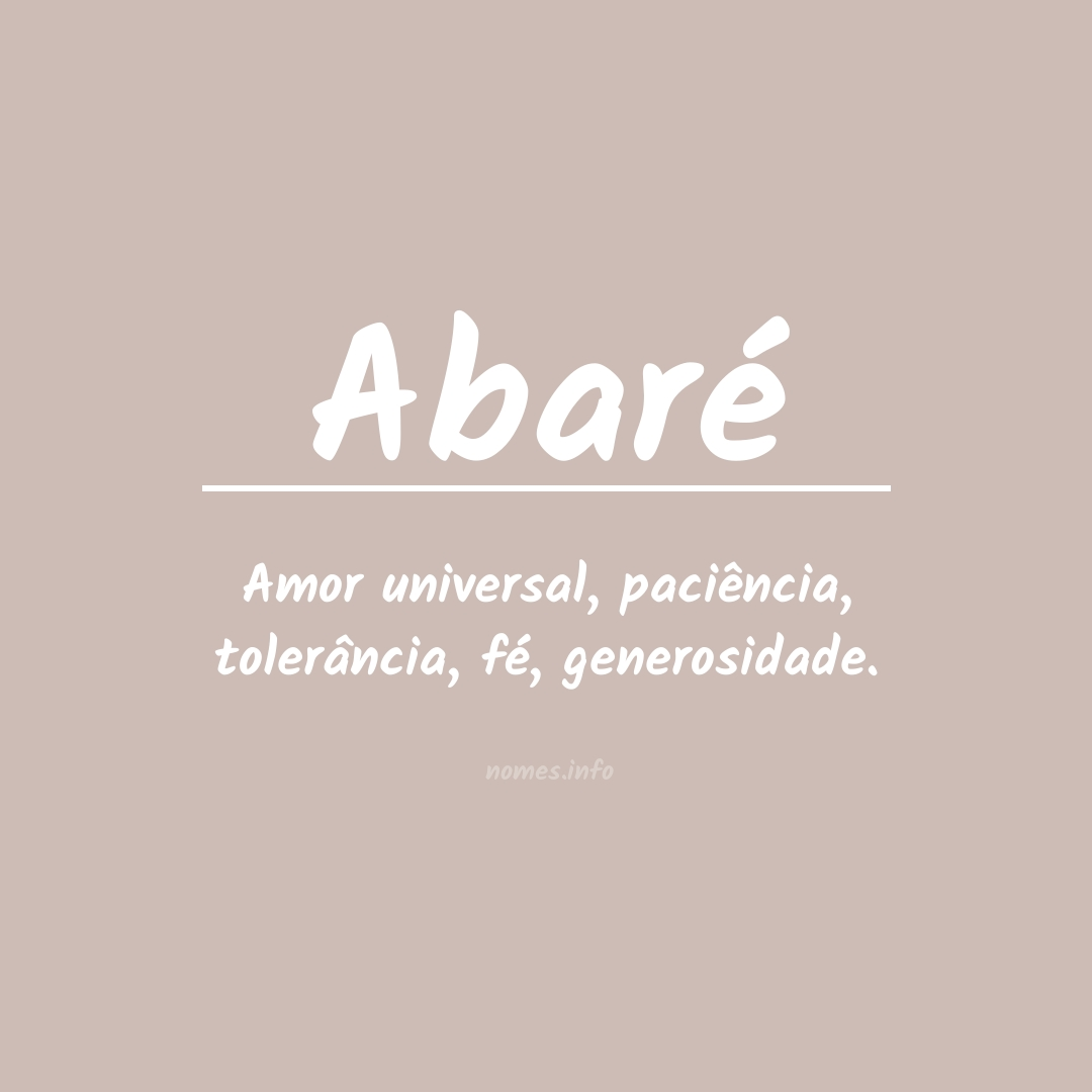 Significado do nome  Abaré