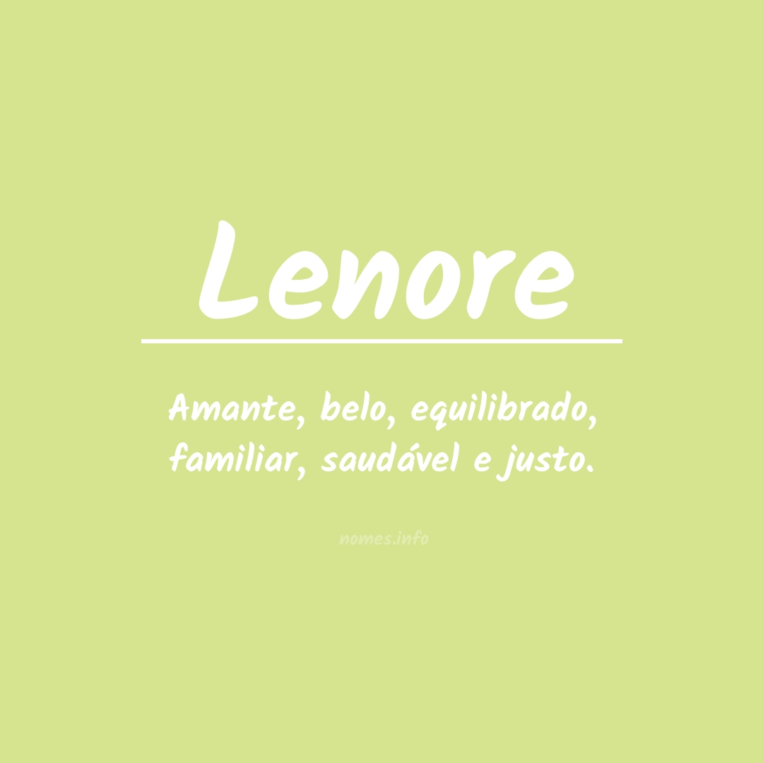 Significado do nome  Lenore