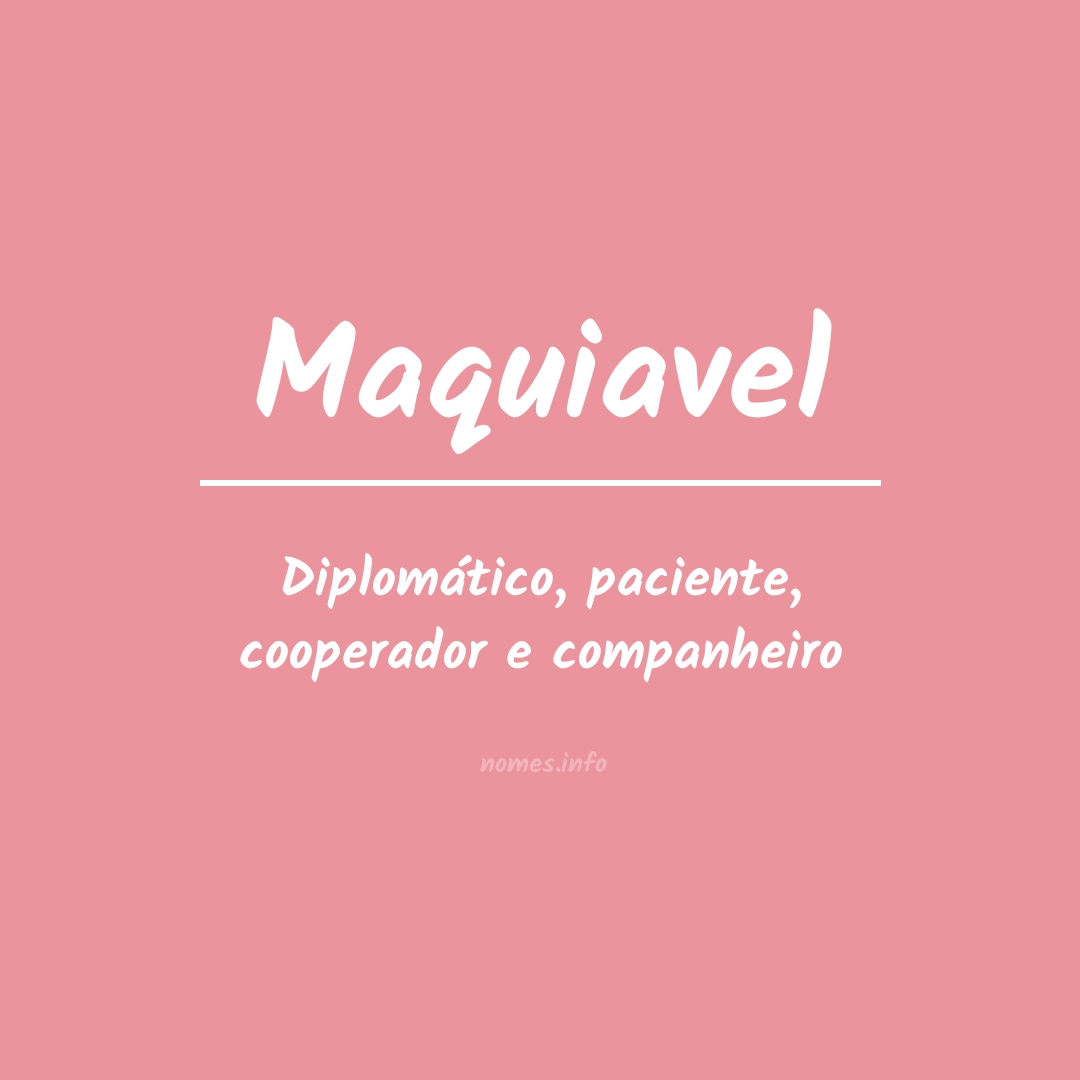 Significado do nome  Maquiavel