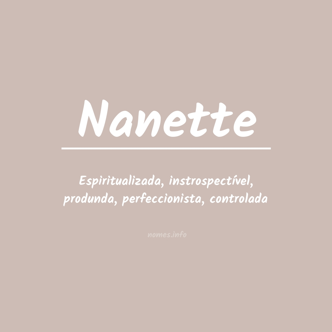 Significado do nome  Nanette