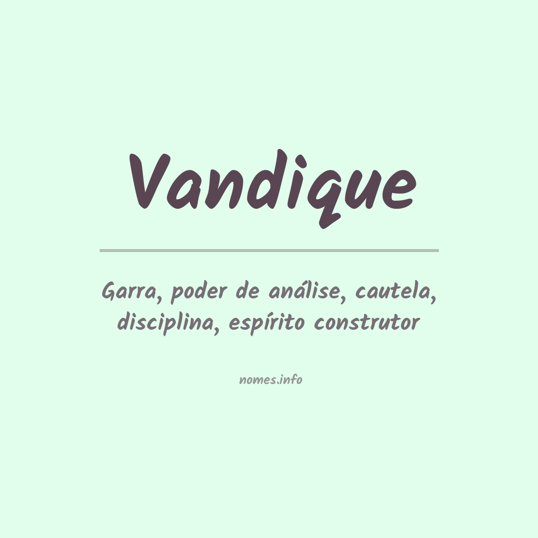 Significado do nome  Vandique